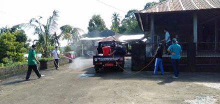Penyemprotan Disinfektan di Wilayah Banjar Dinas Bingin Desa Galungan
